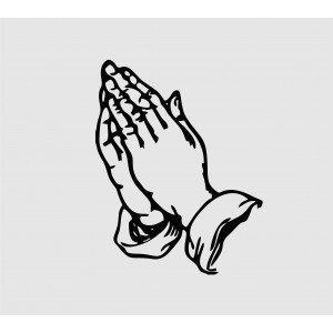 Aufkleber mit betenden Händen