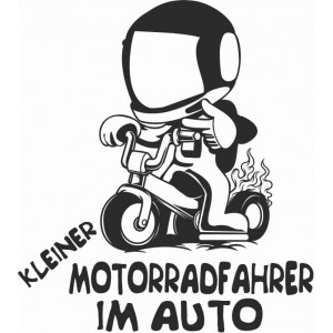 """Aufkleber """"Kleiner Motorradfahrer im Auto"""""""