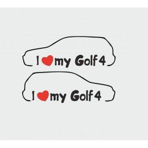 2 x Aufkleber ,  I love Golf 4