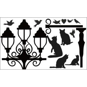 Wandaufkleber ,Kätzchen und Straßenlaterne