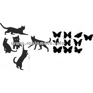Kätzchen und Schmetterlinge