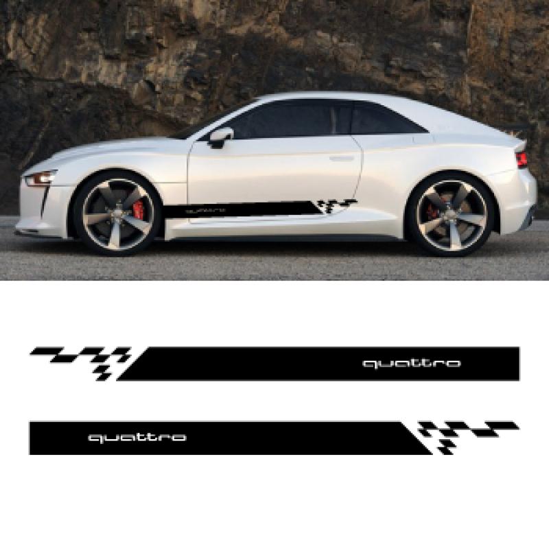2 x Rennaufkleber für Audi QUATTRO